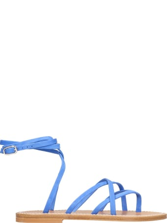 K.Jacques Flats In Blue Suede