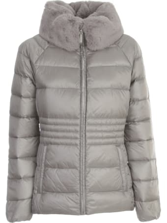 Michael Kors Collection Short Flared Padded Jacket W/faux Fur Neck