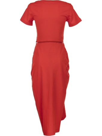 Marni Draped Cotton Jersey Dress Red