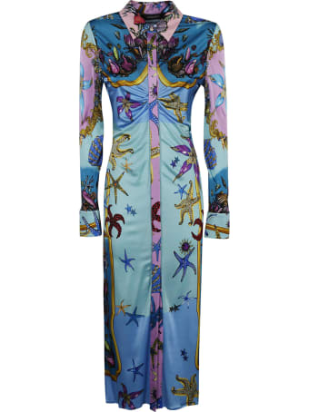 Versace Star Fish Print Slim Dress
