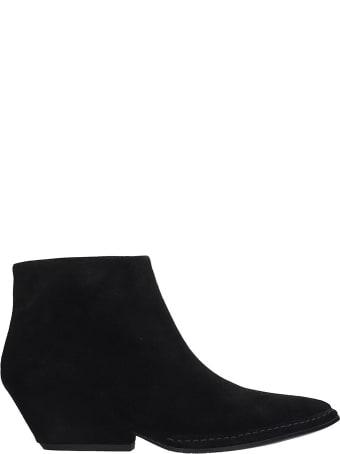 Roberto del Carlo Texan Ankle Boots In Black Suede