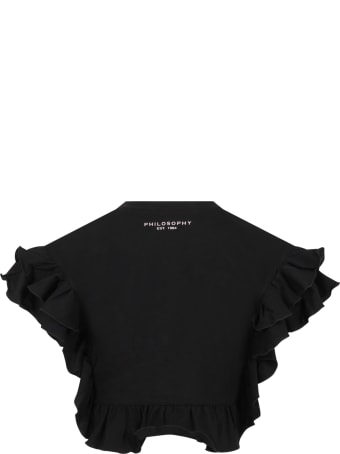 Philosophy di Lorenzo Serafini Black T-shirt For Girl With Logo