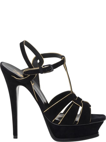 Saint Laurent Tribute 105 Sandals In Suede With Golden Piping