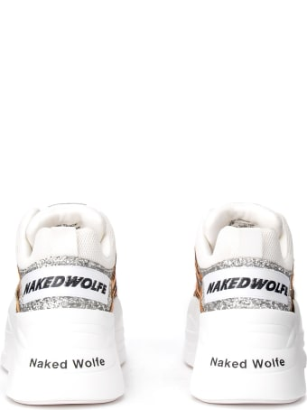 Naked Wolfe Track Sneaker In Pony Leather And Silver Glitter