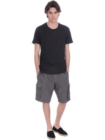 120% Lino T-shirt In Black Linen