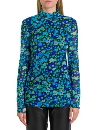 Ganni Floral Top In Stretch Tulle