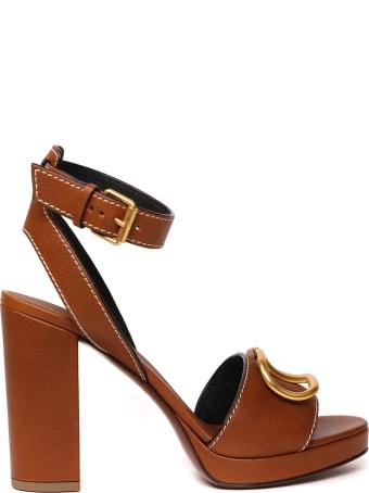 Valentino Garavani Vlogo Brown Leather Sandal