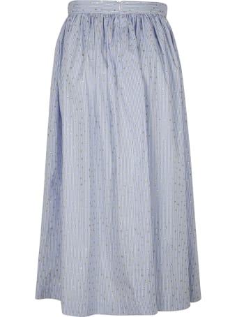 Ermanno Scervino Embellished Stripe Print Long Skirt