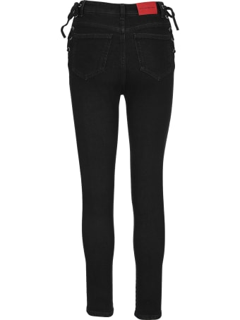 Alessandra Rich Lace-up Skinny Jeans