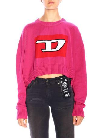 Diesel Sweater Diesel M-linda Oversized Crew Neck Sweater With Maxi Logo
