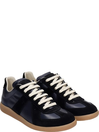 Maison Margiela Replica Sneakers In Blue Suede And Leather