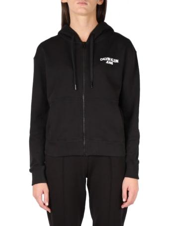 Calvin Klein Jeans Black Hoodie Cotton Sweatshirt