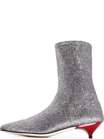 GIA COUTURE Ankle Boot Silver Stretch
