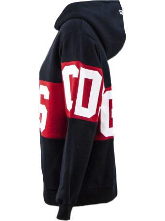 GCDS Black Cotton Oversize Hoodie
