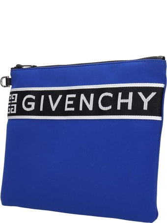 Givenchy Large Zipped Clutch In Blue Tech/synthetic