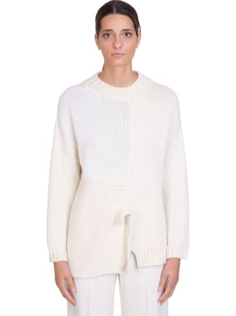 Maison Flaneur Knitwear In White Wool