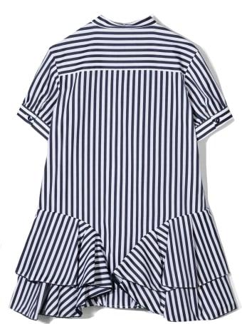 Alberta Ferretti Blue And White Cotton Dress
