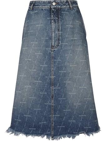 Balenciaga Logo Motif Denim Skirt