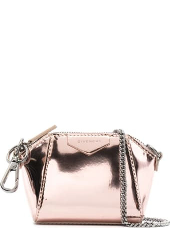 Givenchy Metallic Pink Baby Antigona Bag With Chain