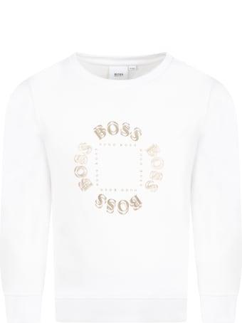 Hugo Boss White Sweatshirt For Boy With Logos