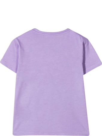 Young Versace Purple T-shirt With Frontal Silver Print