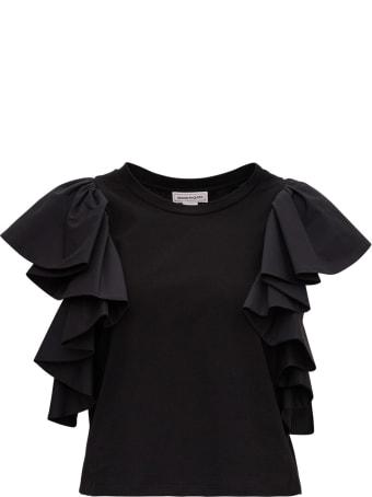 Alexander McQueen T-shirt With Flounced Sleeves