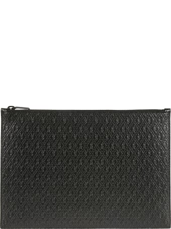 Saint Laurent Quilted Logo Top Zip Clutch