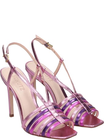 Schutz Sandals In Fuxia Leather