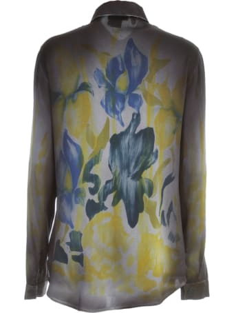 Avant Toi Fitted Shirt With Hand Painted Iris Flowers