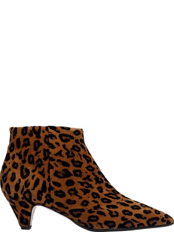 Anna F. Low Heels Ankle Boots In Animalier Pony Skin
