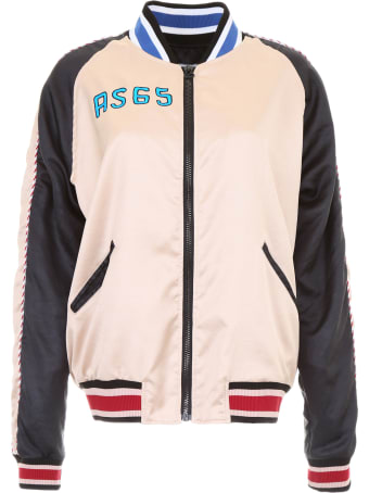 AS65 Satin Bomber Jacket With Flamingo