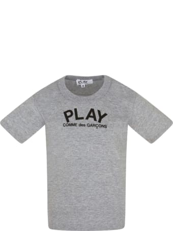 Comme des Garçons Play Melanged Grey T-shirt With Logo
