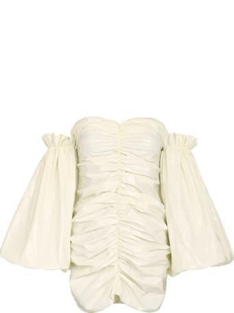 Rotate by Birger Christensen Phoebe Vinyl Off-the-shoulders Dress