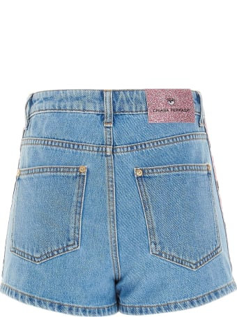 Chiara Ferragni Light Wash Denim Shorts