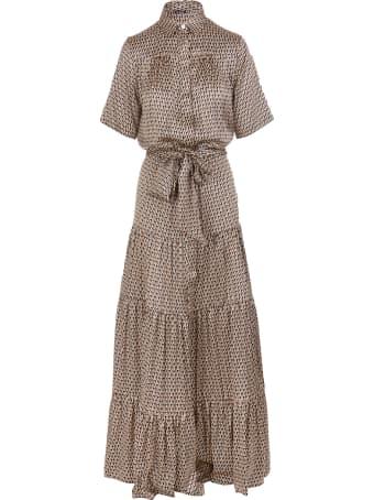Kiton Black/beige/orange Silk Geometric-print Silk Dress