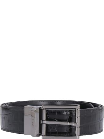 Bally Crocodile Print Leather Belt