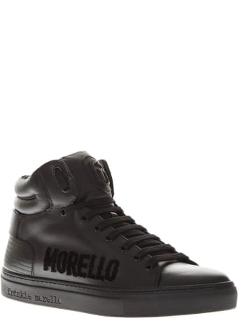 Frankie Morello Black Leather High Top Logo Sneakers