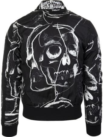 Alexander McQueen Man Black Bomber Jacket With Painted Skull
