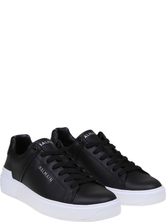 Balmain Black Leather B-court Sneakers