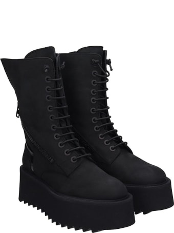 Bruno Bordese Ripple Boot Combat Boots In Black Nubuck