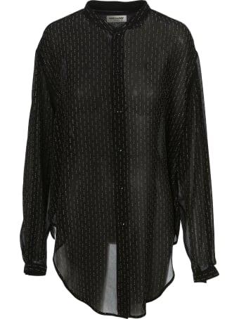Saint Laurent Oversized Tie-up Shirt With Studs