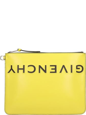 Givenchy Larg Zipped Clutch In Yellow Leather