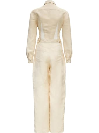Alberta Ferretti Linen Long Sleeves Jumpsuit Look17