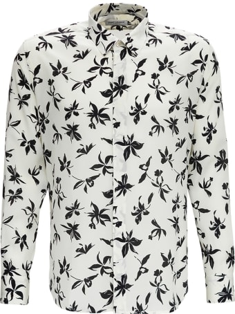 Saint Laurent Camicia In Seta Crepe De Chine Con Stampa Orchidea Selvatica