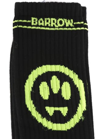 Barrow Black Ribbed Cotton Socks With Smile