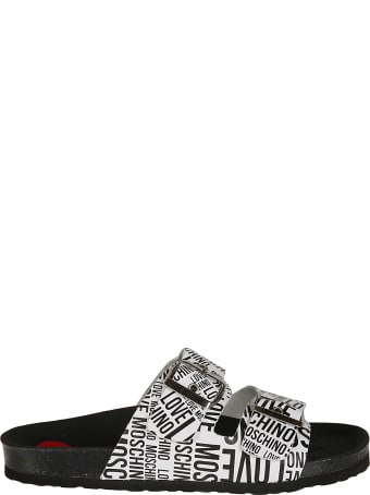Love Moschino Double Buckled Strap Logo Flat Sandals