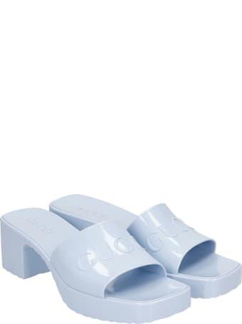 Gucci Slider Logo  Sandals In Cyan Rubber/plasic