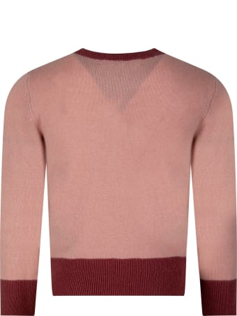 Bonpoint Pink Sweater For Girl With Cherry