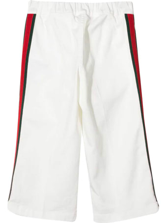 Gucci White Trousers With Side Band