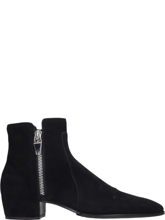 Balmain Ankle Boots In Black Suede